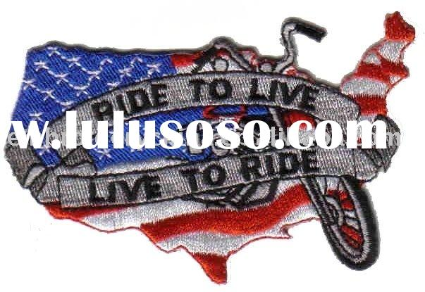 USA flag patch with moto Ride to live