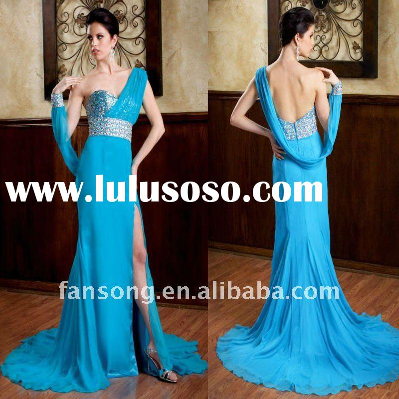 Unique one-shoulder sweetheart side split blue chiffon evening Gown