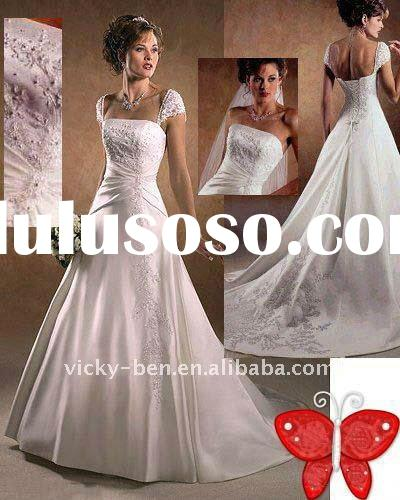 V142- Ivory Cap sleeves Embroidered/Bead Satin/Lace wedding dress
