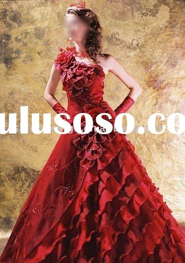 VH178 beauty bride one-shoulder embroidery full flower red wedding dresses