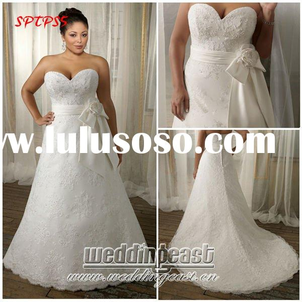 Vintage Embroidered Lace Plus Size Wedding Dress SPTPS5
