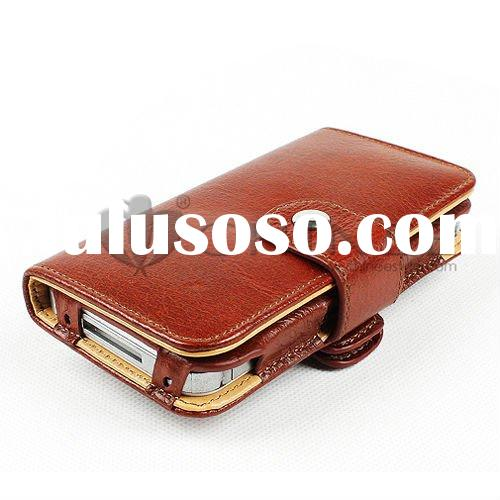 Wallet style 360 degree rotary leather case for apple iphone 4
