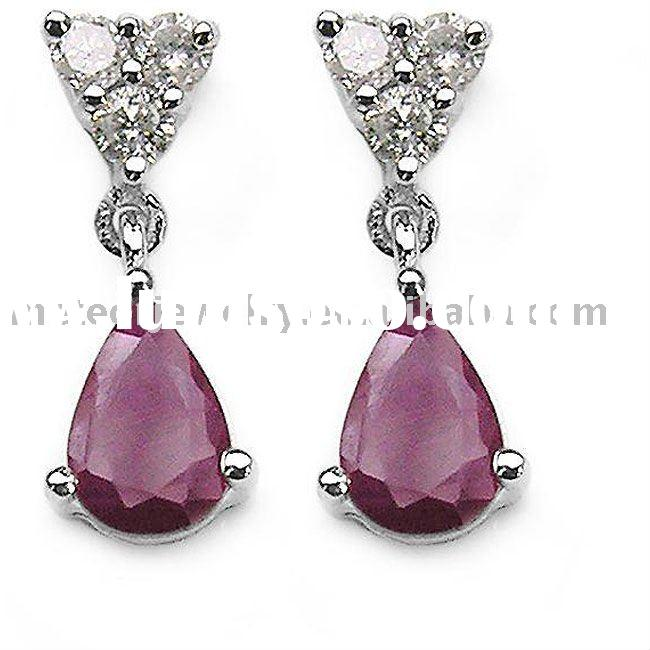 White Gold Ruby and 1/8ct TDW Diamond Teardrop Earrings