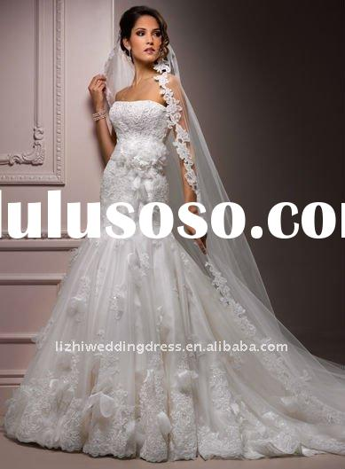 Wholesale Price 2012 Hot Sale Strapless Beautiful Flowers Applique bella swan Mermaid Wedding Dress