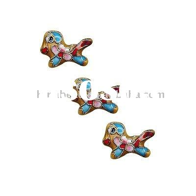 Wholesale animal cloisonne bead cloisonne dog shape bead metal bead copper bead enamel bead