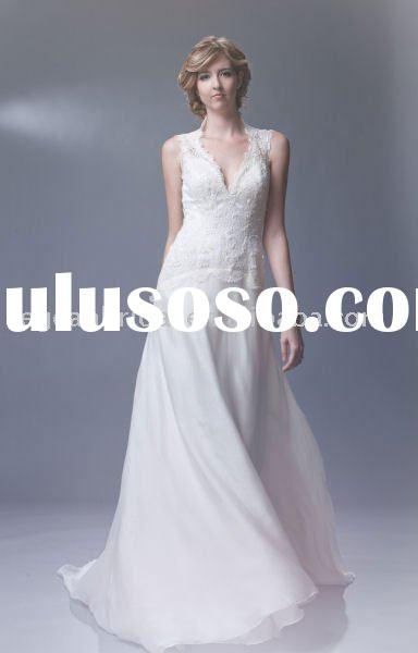 Wholesale factory elegant short sleeves lace bridal wedding dress gown M2548