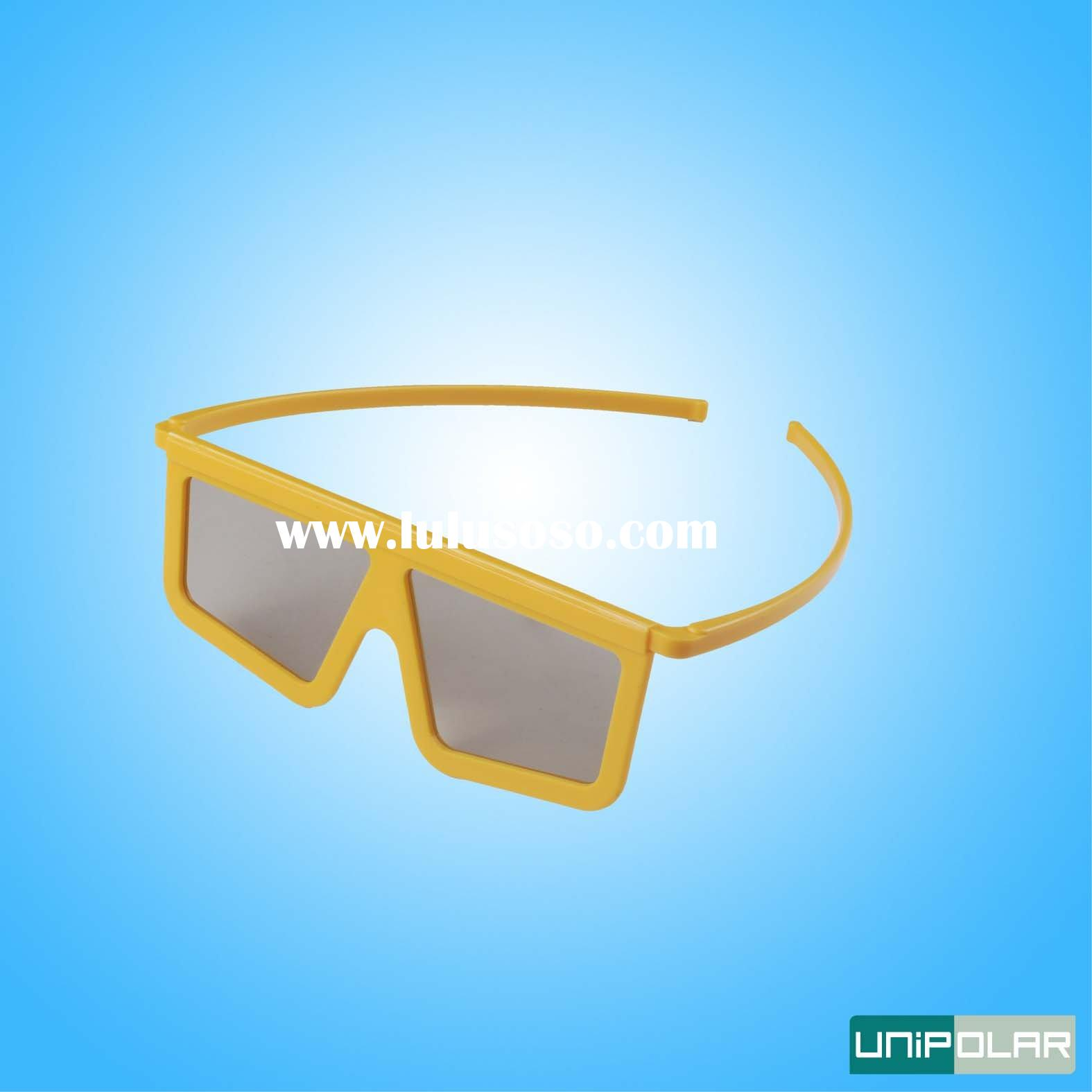 Yellow Frame Linear Polarized Plastic 3D glasses for movie
