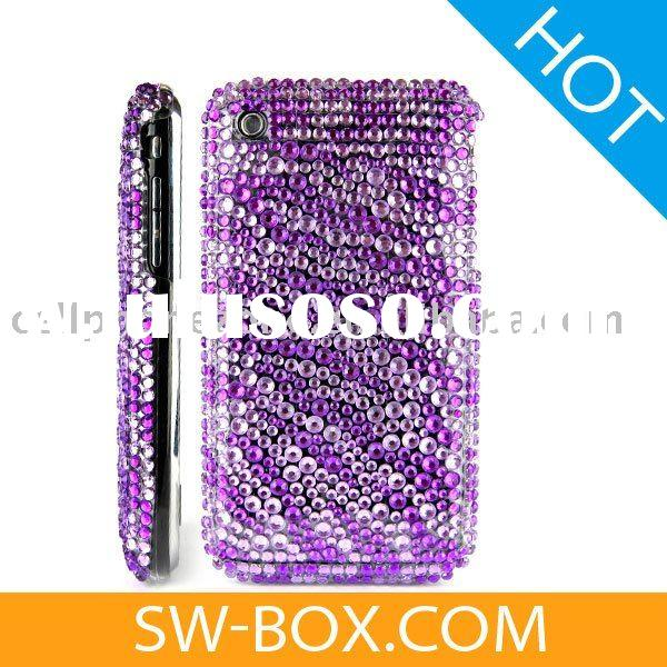 Zebra Diamond Rhinestone Bling Hard Case for Apple iPhone 3GS iPhone 3G (Purple) /rhinestone cell ph