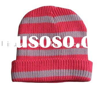 (HBN5504) Stripe Pattern Knitting Beanie Hat For Ladies
