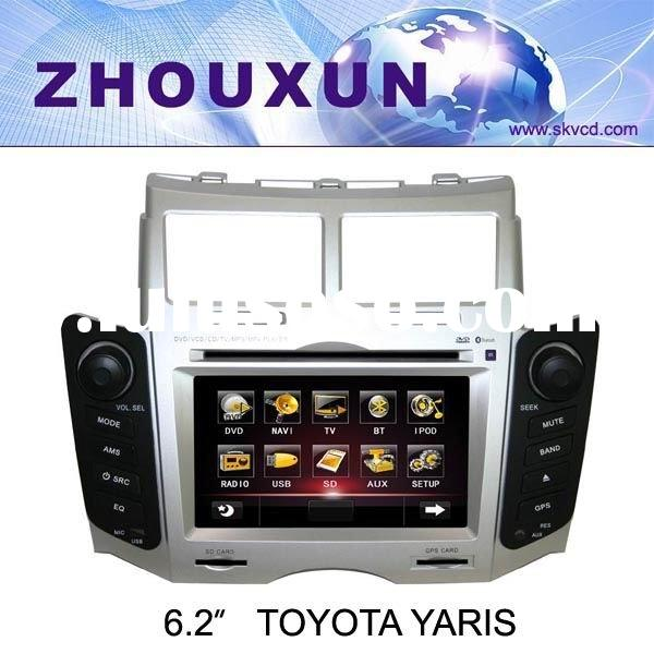 "(Toyota YARIS) 6.2"" HD digital TFT auto DVD GPS player, with TV,radio, bluetooth"