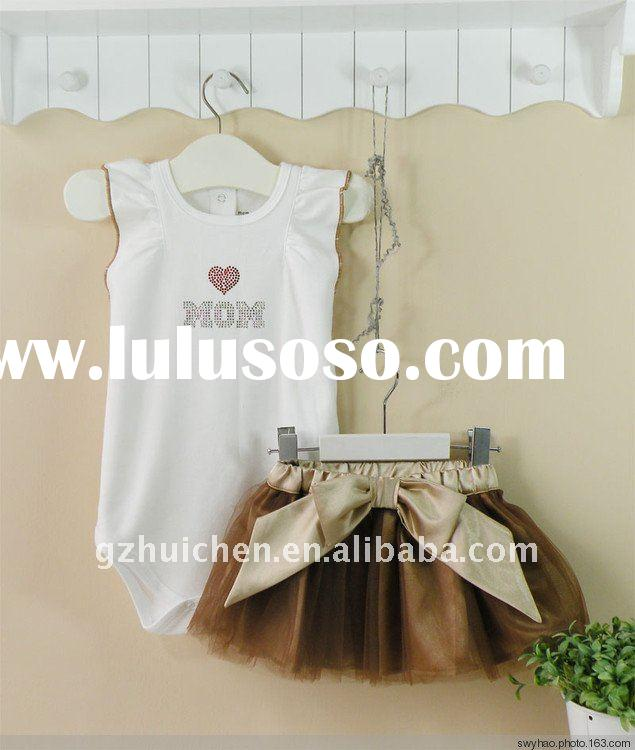 baby clothes set cotton bodysuit + tulle skirt