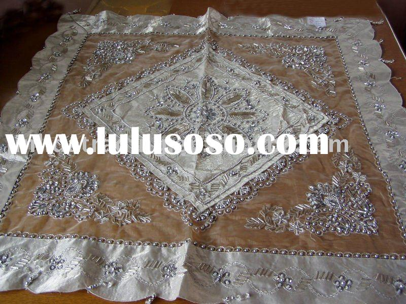 beaded/sequins decoration tablecloth, polyester table cover,embroidery tablecloth