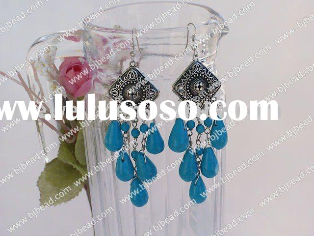 blue turquoise chandelier earrings with 925 silver hook E251