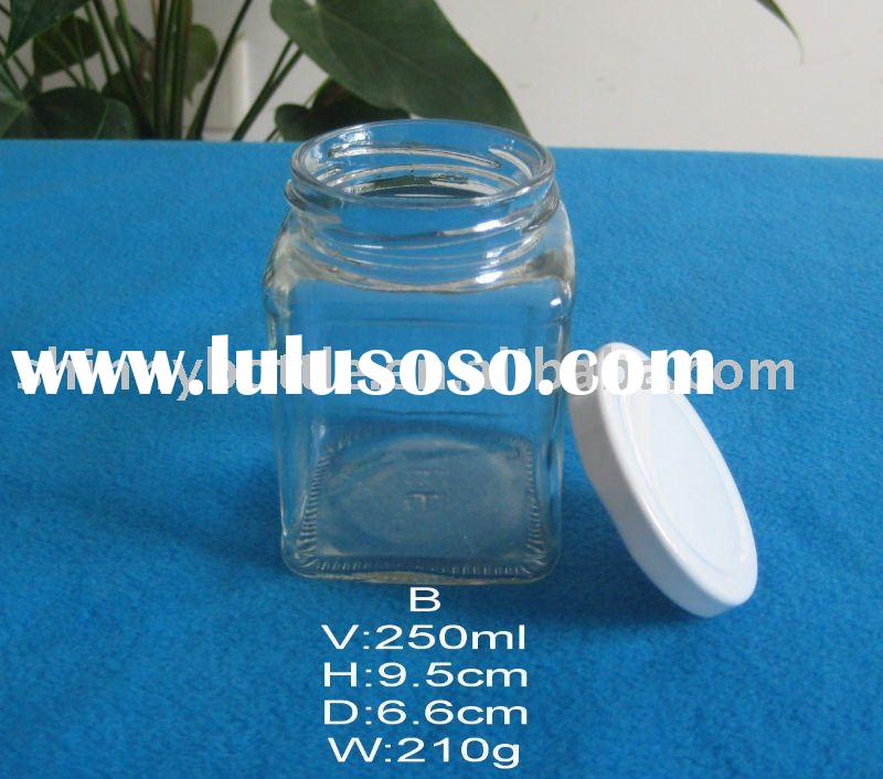 clear glass mason jar 250ml for food packing with cap