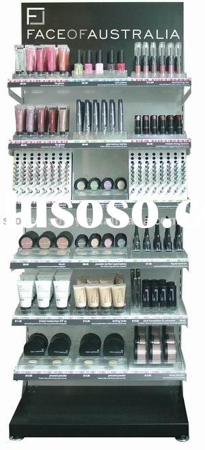 cosmetic display rack, bottle display, retail store display shelf