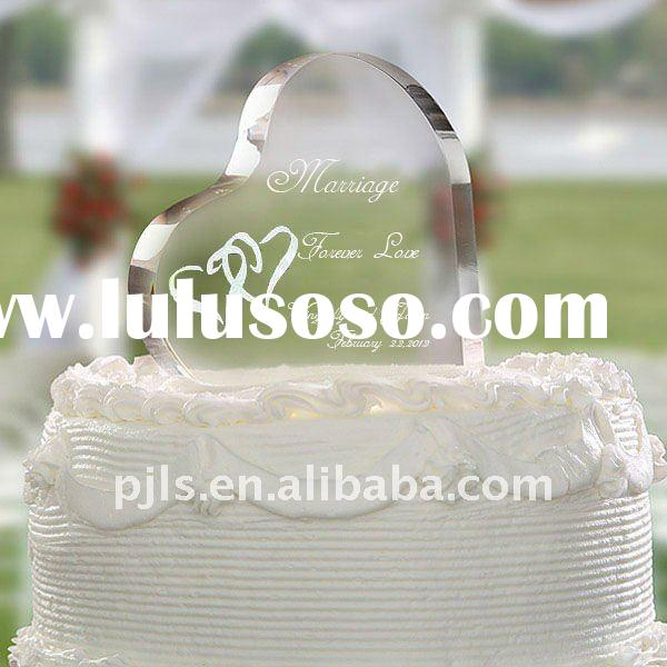 crystal wedding cake topper,heart shape