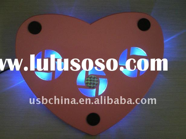 cute design laptop cooling pad with 3 fan and blue LED