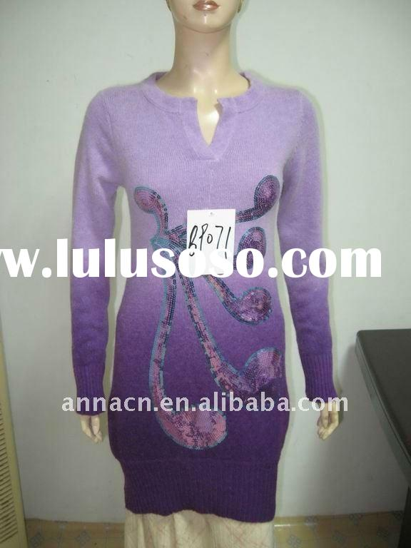 emboidery & beading dress sweater long sleeve