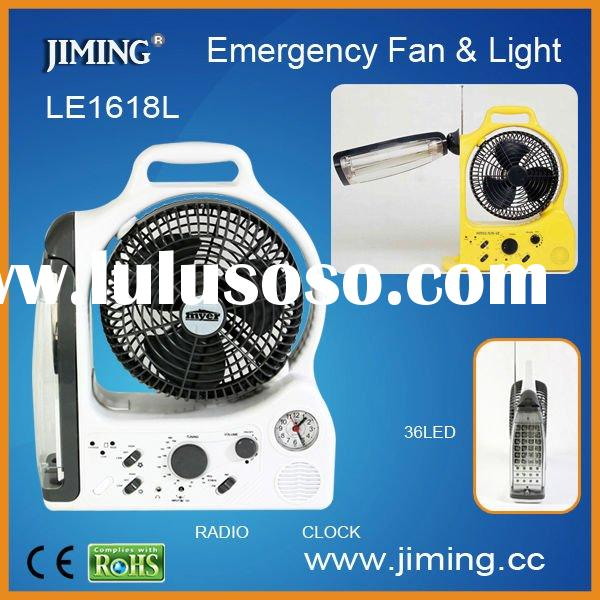 emergency radio Rechargeable Fan LED Emergency Lamp with Radio-LE1618-6BL