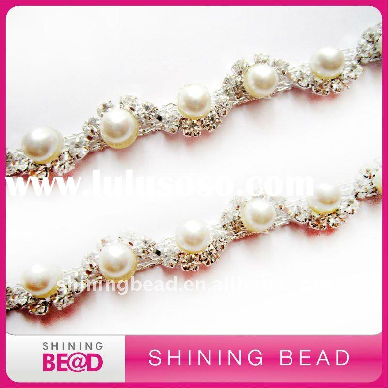 fashion pearl rhinestone chain trimming