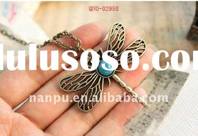 funky handmade costume vintage alloy dragonfly studded crystal diamond turquoise pendant necklace je