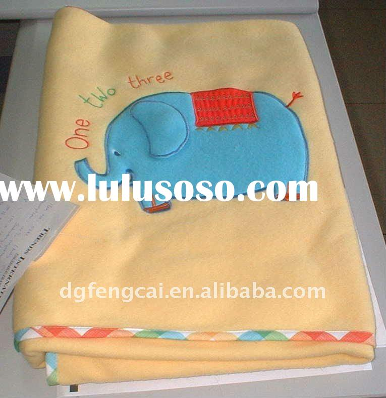 good-looking cotton soft baby blanket with elephant patch