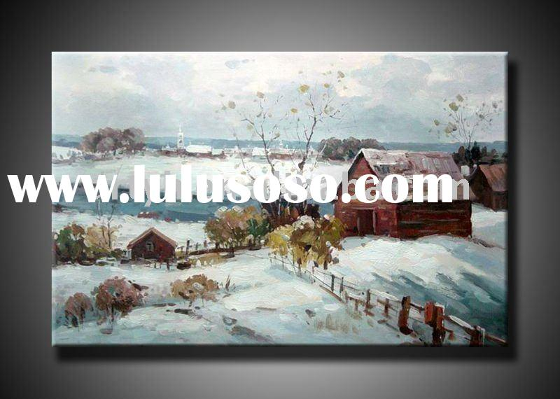 handmade impression winter landscape art oil painting on canvas