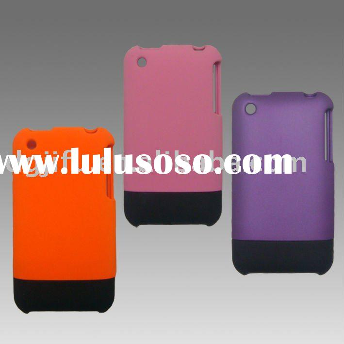 hard pc case for iphone 3G;2 pieces design cell phone case; rubber spray finishing pc phone case; Cu