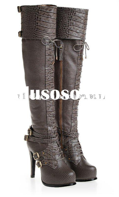 high quality over knee leather boots for women 2012