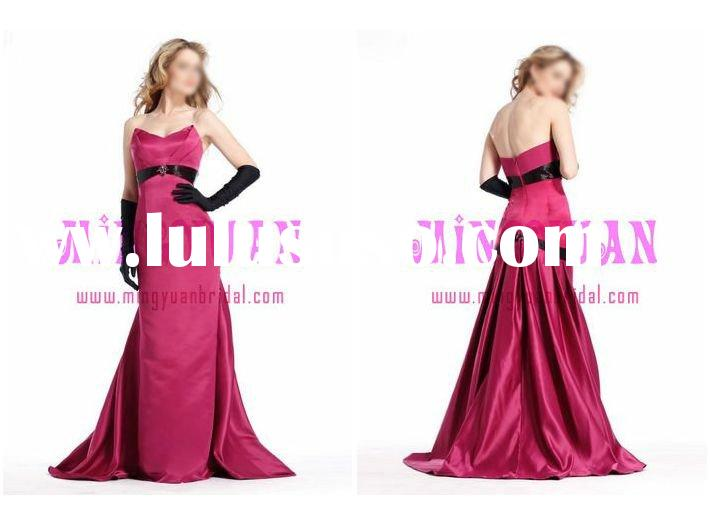 hot pink satin with black gloves evening dress ab172