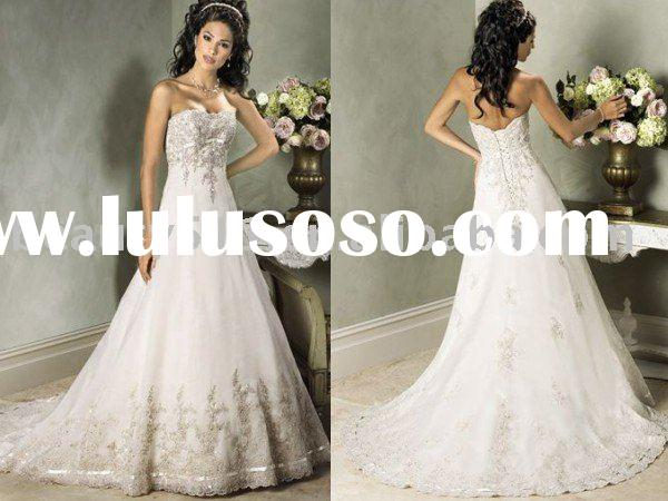 hot-sale Noblest Exquisite french lace strapless wedding dress bridal gown ql124