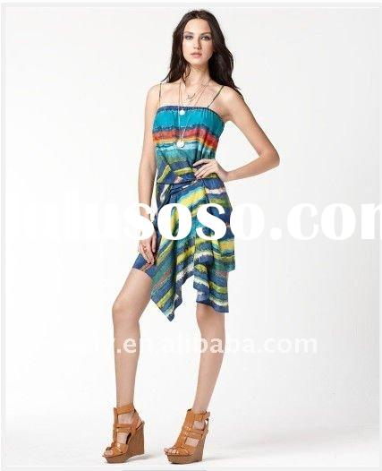 hot sale printed ladies fashion dresses summer