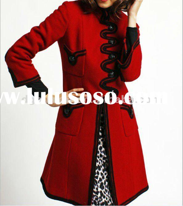 lady coat 2012 new style luxury long coats for women name brand coats for women HK-1209 in red