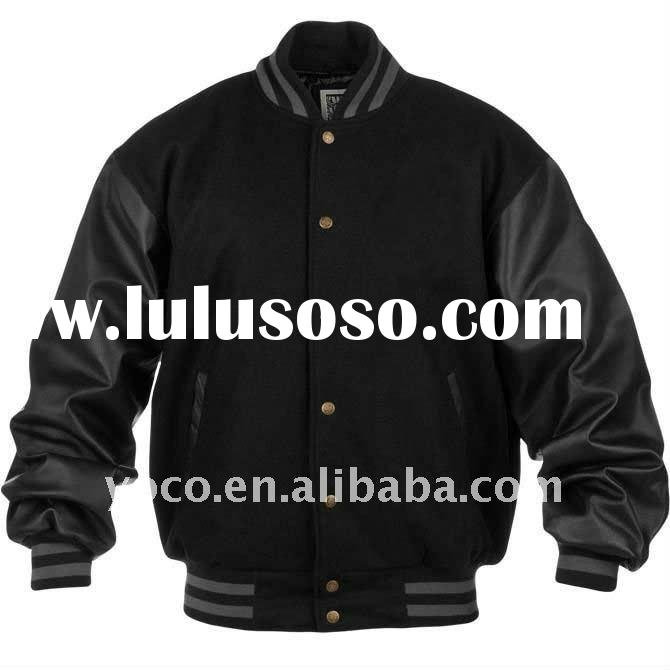 men's wool varsity jacket with leather sleeves