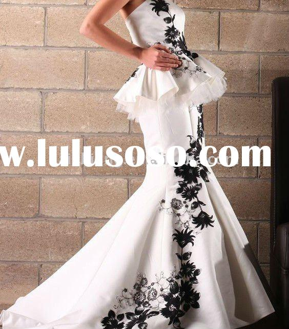 mermaid satin white and black embroidery 2011 bridal wedding dress bridal gown