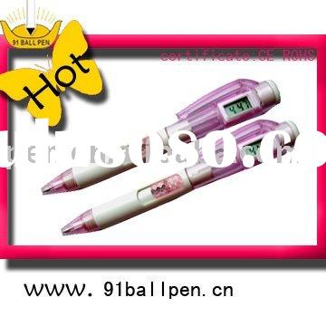 metal ball pen with electronic watch