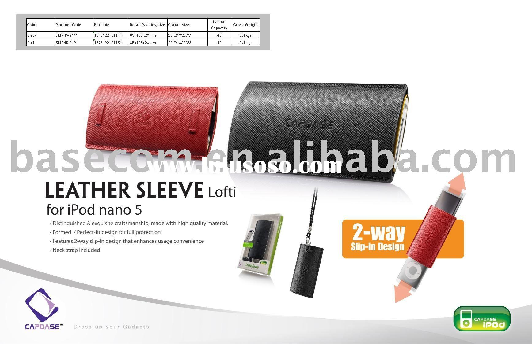 mobile phone leather protective case for iPod nano 5