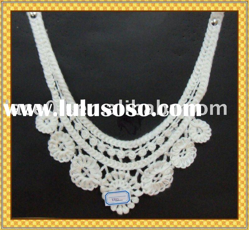 neck embroidery design/lace material/guangzhou lace