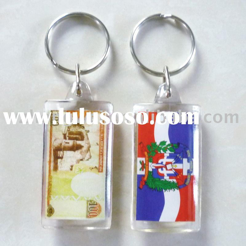 oblong photo acrylic plastic key chain