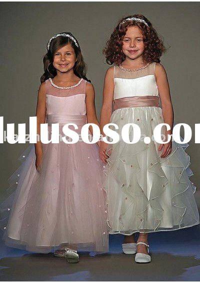 organza floor length a line skirt flower girl dress