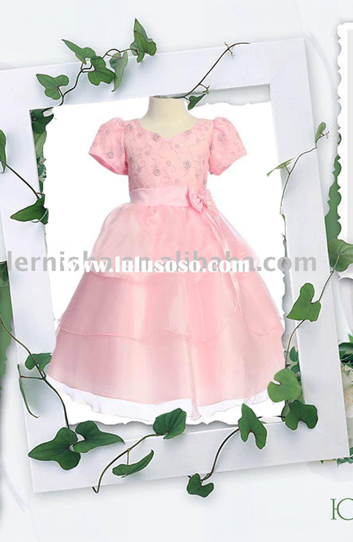pink embroidered flower girls' dresses, cap sleeve dresses H207