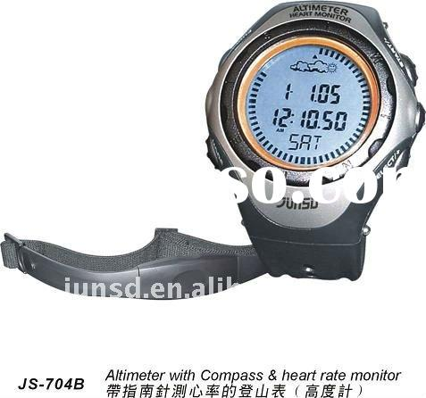 professional sports digital altimeter watch with heart rate monitor and compass