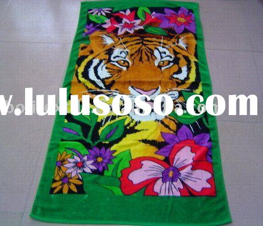 reactive printed cotton velour beach towel,polyester reactive printed beach towel