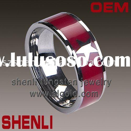 red resin Inlay mens tungsten rings wedding rings