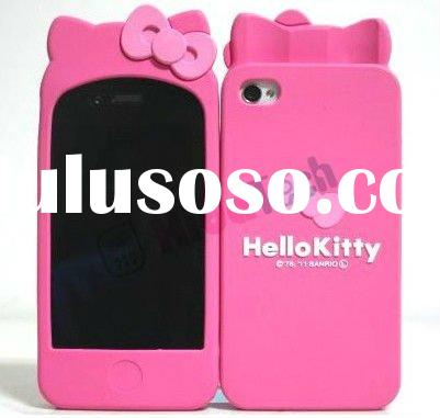 silicone Case for iphone 4,hello kitty back cover case for apple iphones,for iphone4 4g Bowknot case
