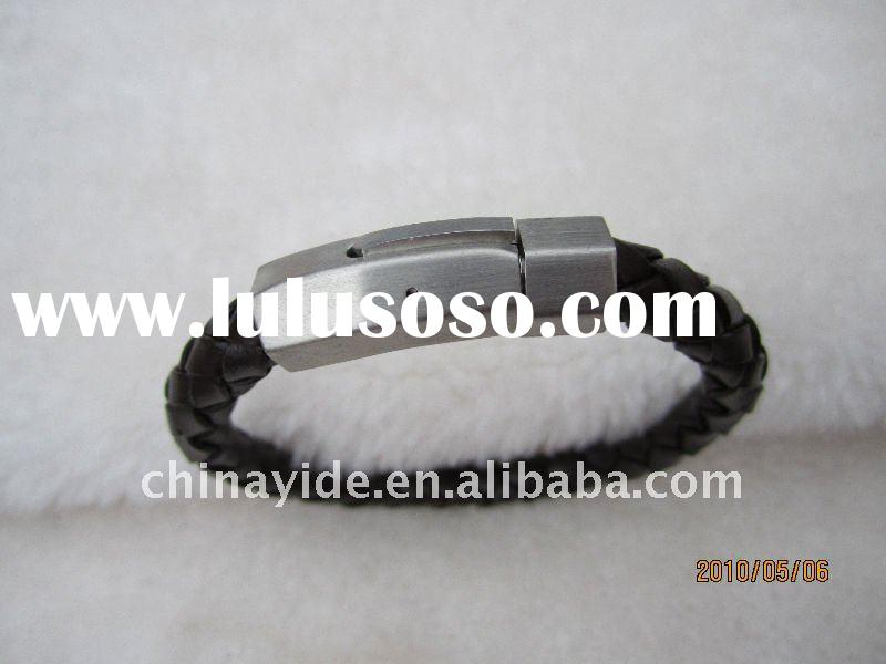 stainless steel magnetic clasps leather bracelets