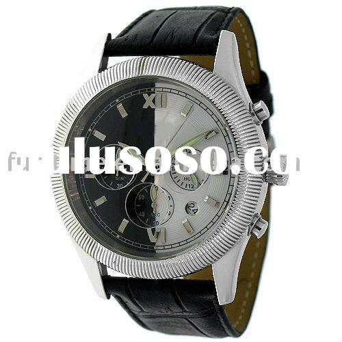 stainless steel sport mens watches.Black white two side colour watch face, leather strap watch