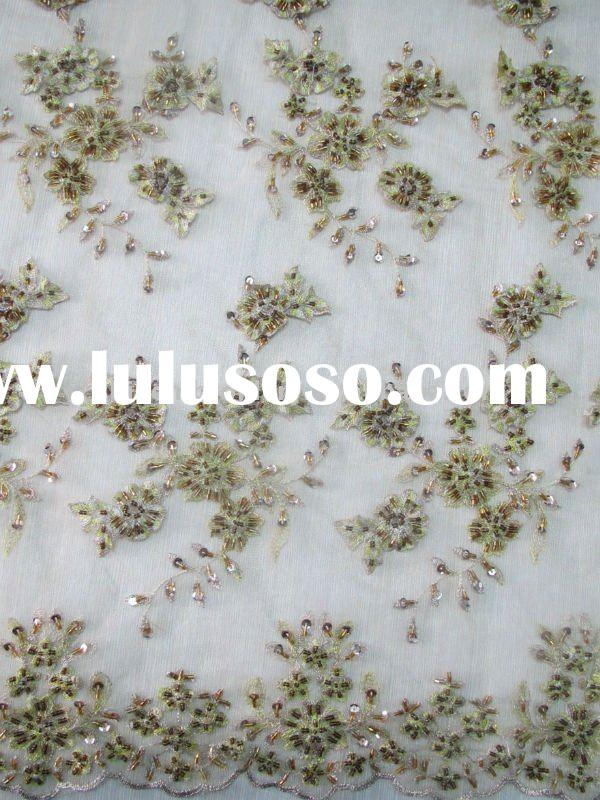 tulle fabric with handwork embroidery designs for fashion