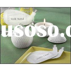 wedding favor--Golf Ball Tea Light and Unique Golf Club-Shaped Place Card