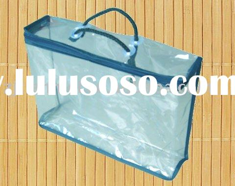 white clear pvc plastic bag with zipper